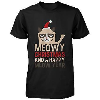 Meowy Happy Miau rok wakacje Grumpy Cat - Boże Narodzenie czarny Graphic Tee