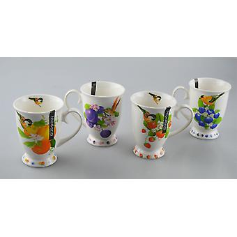 New Bone China Mugs Set of 4 Fruit Design Tea Coffee Home Kitchen Office Cups