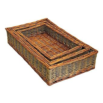 Set of 3 Dovedale Wicker Serving Trays