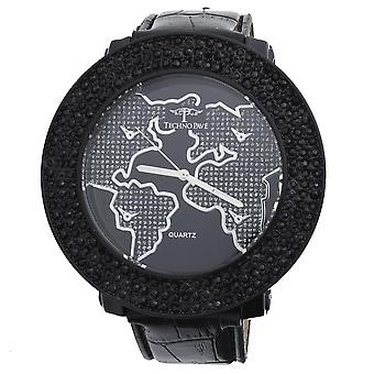 Iced out 3 row hip hop watch - WORLD black