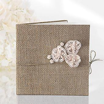 Hessian Guest book - Flower Lace Design - 22 pages - Rustic Wedding
