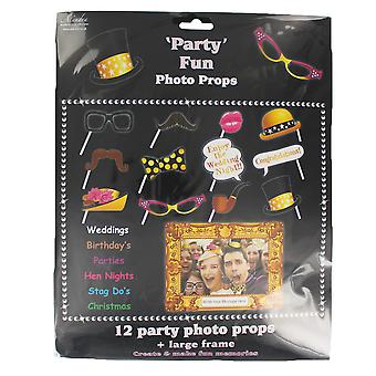 Pack of 12 Party Photo Props with Large Photo Frame Selfie Booth Accessories