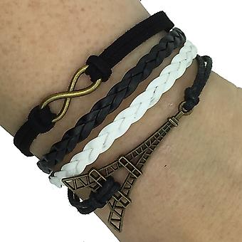 (B7) Vintage Handmade Infinity 8 Eiffel Tower Leather Bracelet Wristband including gift box