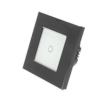I LumoS schwarz gebürstetem Aluminium 1 Gang 1 Weg Touch Dimmer LED Licht wechseln weiß einfügen