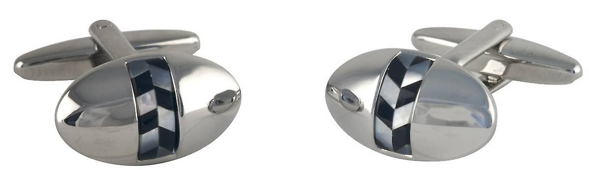 David Van Hagen Oval Mother of Pearl and Oynx Centre Stripe Cufflinks - Silver/Black/White