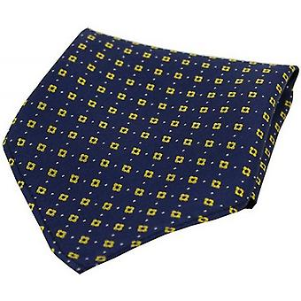 David Van Hagen Neat Pattern Silk Pocket Square - Navy/Yellow