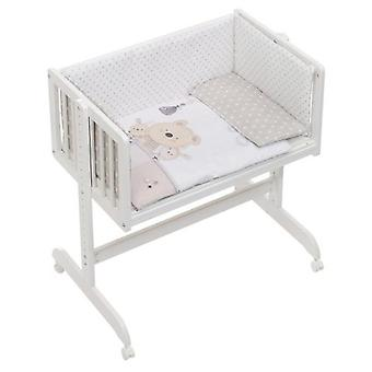 Interbaby Cradle co-sleeping with textile Love Teddy Beige