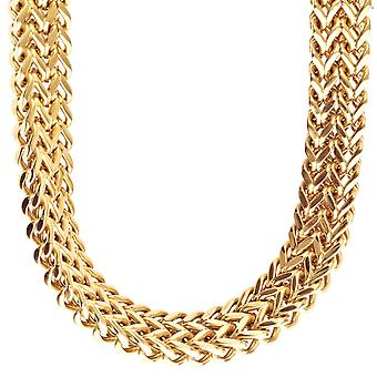 Iced out stainless steel FRANCO set - Necklace & Bracelet gold