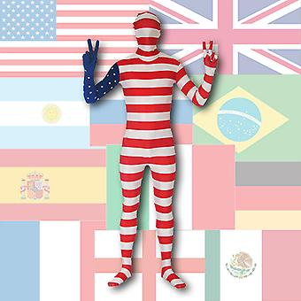 AltSkin Full Body Spandex/Lycra Suit - World Flag Design