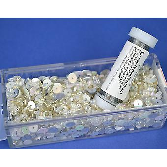 White & Silver Sequin & Bead Mix with Wire for Crafts - 80g