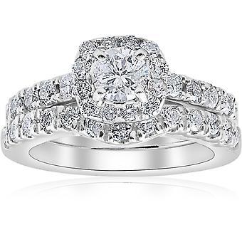 1 1 / 4ct pute Halo diamant engasjement matchende giftering sett 14K hvitt gull