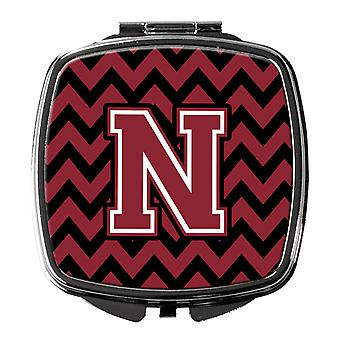 Letter N Chevron Garnet and Black  Compact Mirror