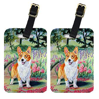 Carolines Treasures  7077BT Pair of 2 Corgi Springtime in the Garden Luggage Tag