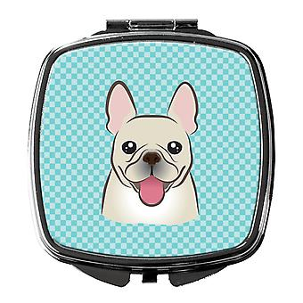 Carolines Treasures  BB1176SCM Checkerboard Blue French Bulldog Compact Mirror