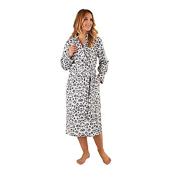 Slenderella HC8312 Women's Grey Animal Print Robe Long Sleeve Dressing Gown