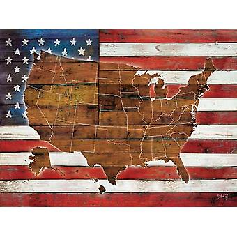 American Flag USA Map Poster Print by Marla Rae (24 x 18)