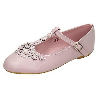 Girls Spot On Flat T-Bar Flower Trim Shoes