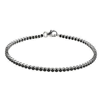Sterling Silver 925 Womens Stylish Tennis Bracelet with Premium Swarovski Black Zirconia Stones