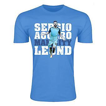 Sergio Aguero Man City legende T-Shirt (himmelblå) - barn