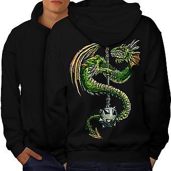 Dragon Mace Cool Men BlackHoodie dos | Wellcoda