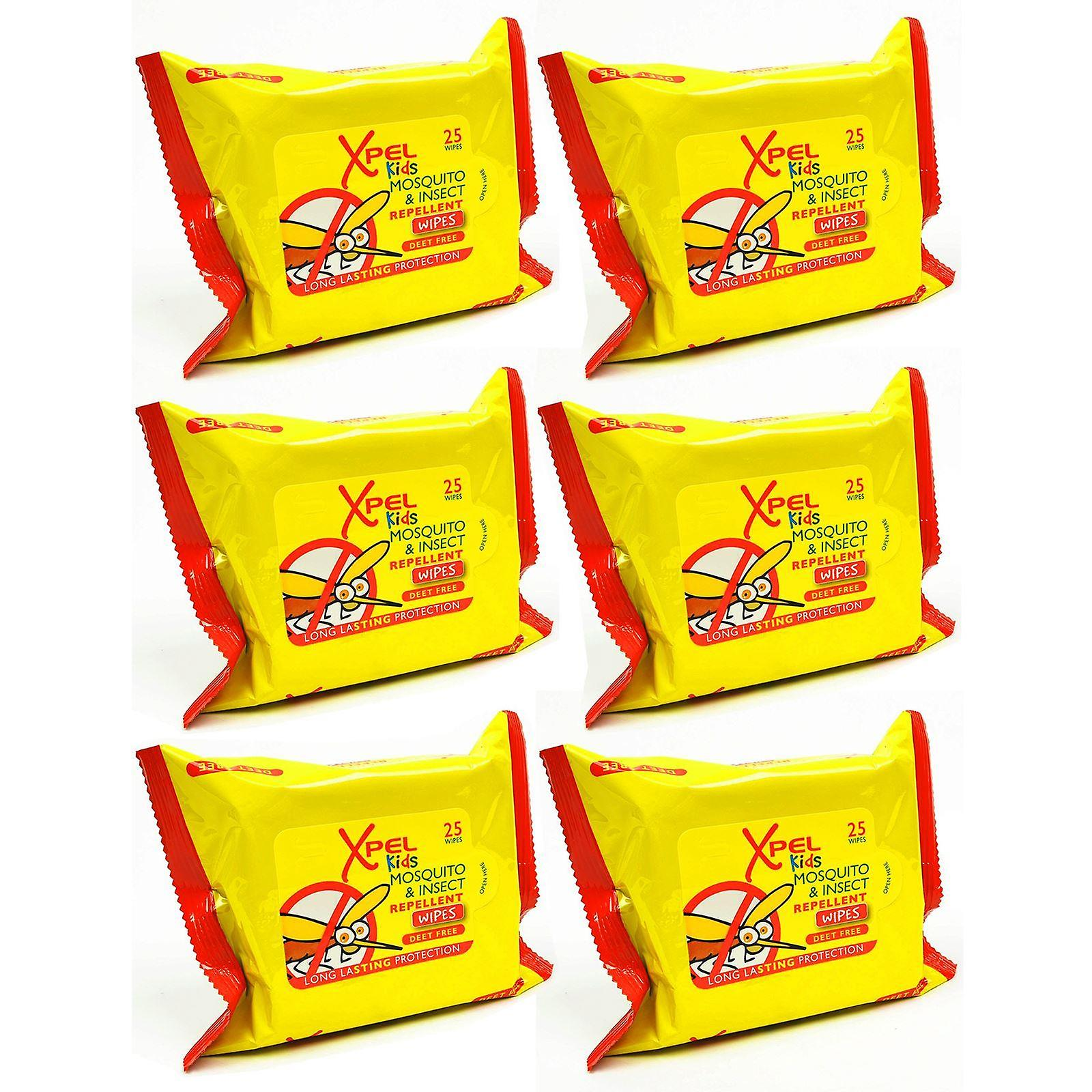 Xpel Kids Mosquito & Insect Repellent 25 Wipes - 6 Pack