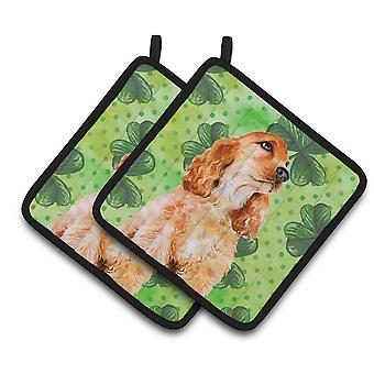 Carolines Treasures  BB9880PTHD Cocker Spaniel St Patrick's Pair of Pot Holders