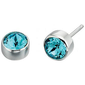Beginnings Swarovski Round Stud Earrings - Blue/Silver