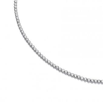 Cavendish French Silver and CZ Solitaire Tennis Necklace