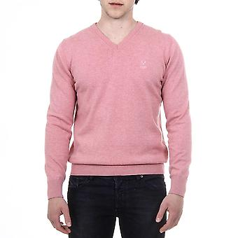 Versace 1969 Italia Mens Pink Sweater Long Sleeves V-neck