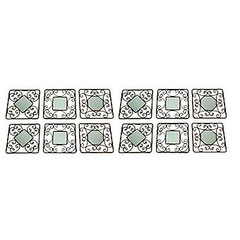 Decorative Scroll Vintage Finish Square Accent Mirrors Set of 12