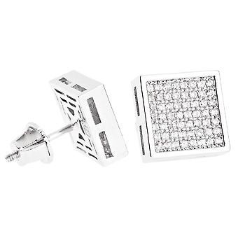 Iced out bling micro pave earrings - SQUARE 10 mm