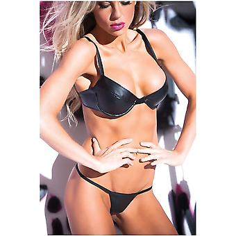 Allure Lingerie AL-12-6402 Faux Leather Sexy Siren 2 Piece Bra and G-string Set