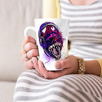 Dzikie zwierzęta zestaw słuchawkowy muzyki nowej białej herbaty kawy Latte ceramiczny kubek 17 oz   Wellcoda