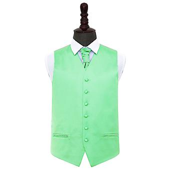 Mint Green Plain Satin Wedding Waistcoat & Cravat Set