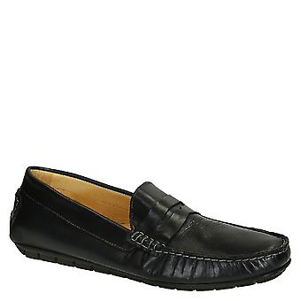 Men's blu color leather italian driving moccasin
