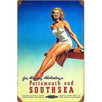 Portsmouth & Southsea Old Br Advert Weathered Metal Sign 460Mm X 300Mm