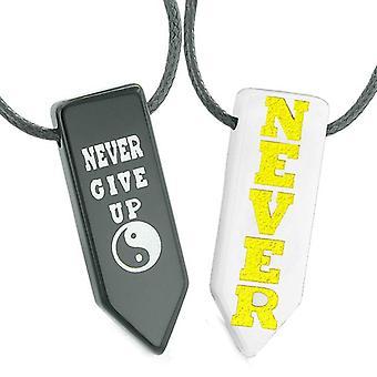 Never Give Up Amulets Love Couples or Best Friends Yin Yang White Quartz Agate Arrowhead Necklaces