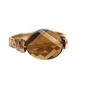 Gemshine - women's - ring - pull-ring - gold plated - smoky quartz - Brown