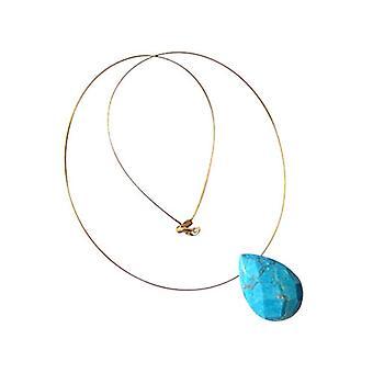 Gemshine - Panie - wisiorek - naszyjnik - pozłacane - turkus - drops - płaszczyznowe 45 cm - niebieski-