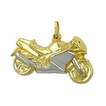 Motorfiets aanhanger goud 375 hanger 28 mm motorfiets bicolor 9 KT goud