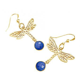 Women's earrings - earrings - 925 Silver - gold plated - blue Dragonfly - Onyx - 4 cm