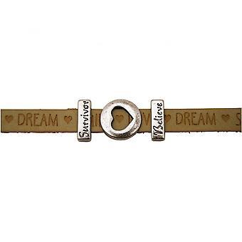 Women - bracelet - heart - love - WISHES - Brown - sand - magnetic lock - survivor - believe