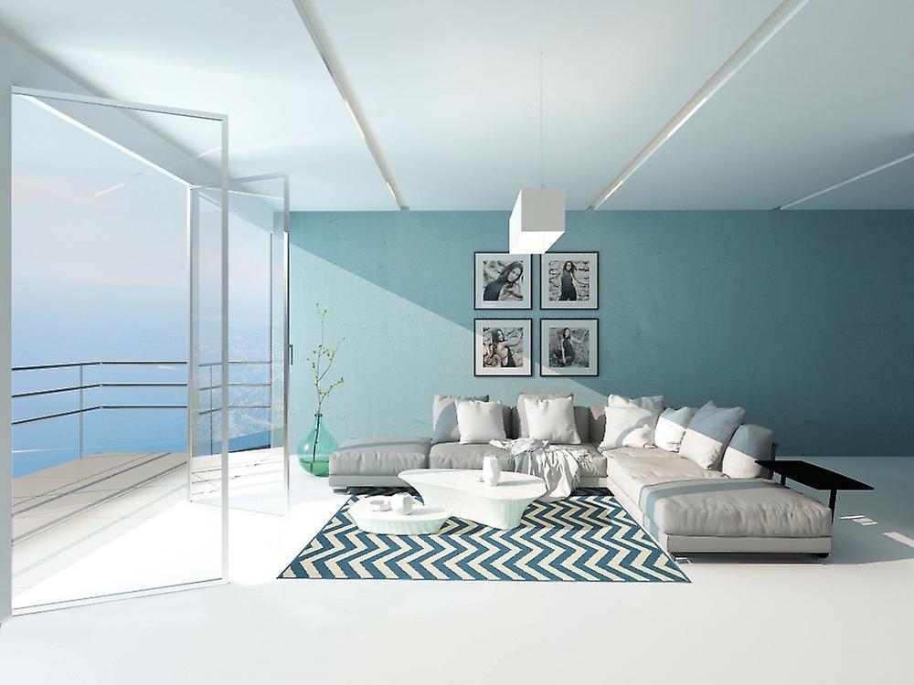 outdoor teppich f r terrasse balkon hell blau coastal living waves light blue 133 190 cm. Black Bedroom Furniture Sets. Home Design Ideas