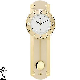 AMS 5293 wall clock radio radio controlled wall clock with pendulum pendulum clock brass colours with glass