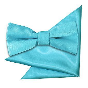 Robin's Egg Blue Plain Satin Bow Tie & Pocket Square Set for Boys