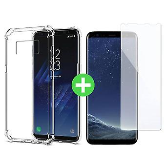 Stuff Certified ® Samsung Galaxy S8 Plus Transparent TPU Case + Screen Protector Tempered Glass