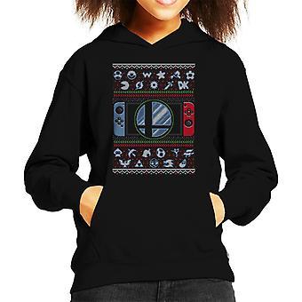 Super Smash Bros Ultimate Christmas Switch Knit Pattern Kid's Hooded Sweatshirt