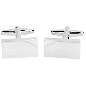 David Van Hagen Brushed Rectangle Angled Corner Cufflinks - Silver