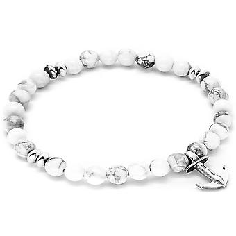 Anchor and Crew Starboard Silver and Howlite Stone Bracelet - White/Silver