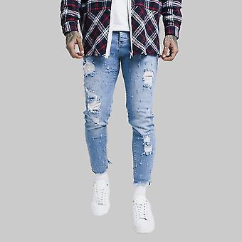 Sik Silk Raw Cuff Cropped Denim Jeans Midstone